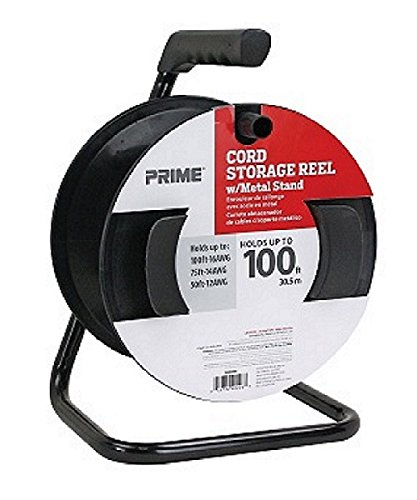 Cable Roller - Prime CR003000 Portable Cord Reel with Metal Stand, Black, Holds 100-Ft of Cord