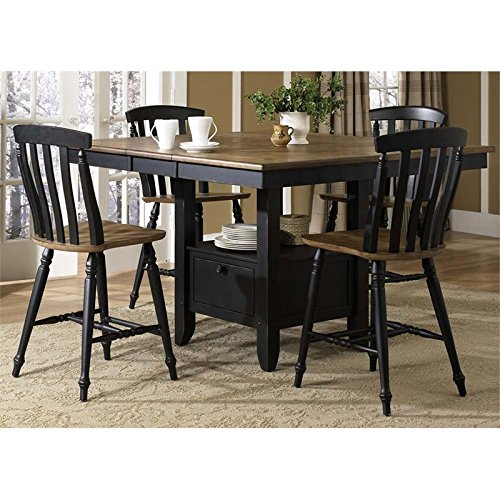 Liberty Furniture Al Fresco II Dining 5-Piece Gathering Table Set, Driftwood & Black Finish