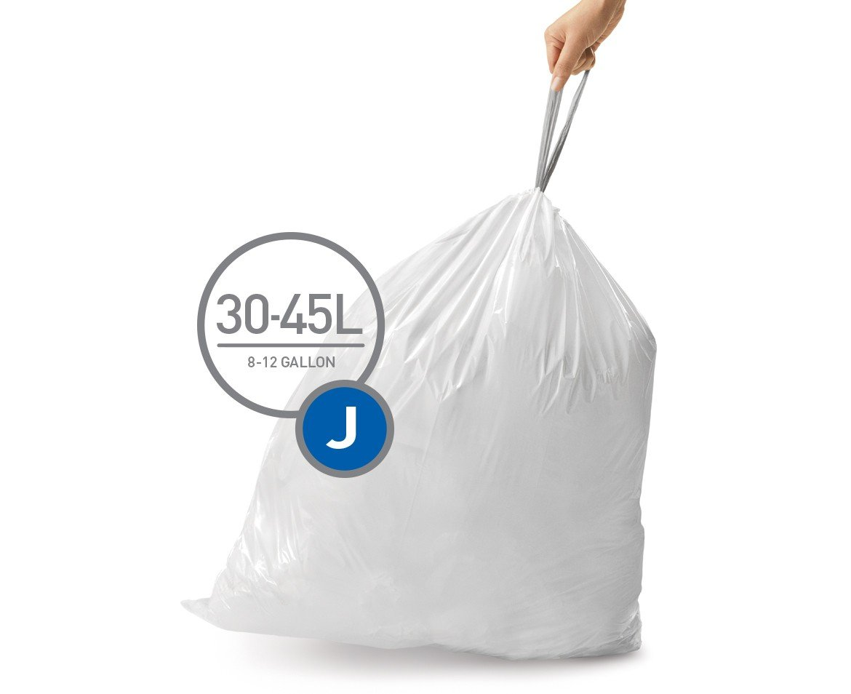 simplehuman Code J Custom Fit Trash Can Liner, 12 refill packs (240 Count), 30-45 Liter/8-12 Gallon