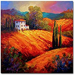 Trademark Fine Art Tuscan Villa Evening by Marion Rose, 14x14-Inch Canvas Wall Art