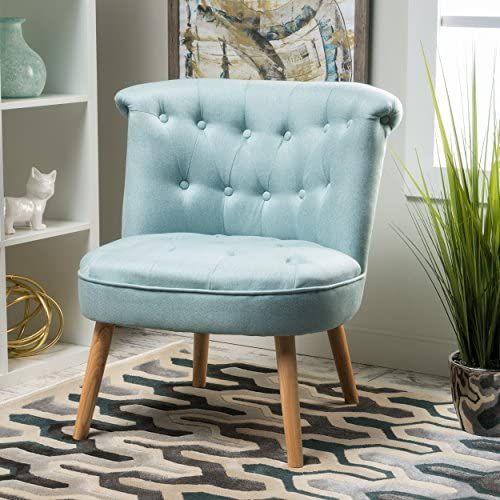 Christopher Knight Home Donna Mid Century Fusion Light Blue Button Tufted Fabric Chair