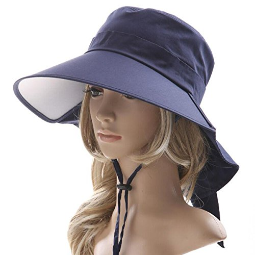 Ls Lady Womens Summer Flap Cover Cap Cotton Anti-UV UPF 50+ Sun Shade Hat With Bow. Adjustable Hat (One Size,0 Blue) (Protection Ls)
