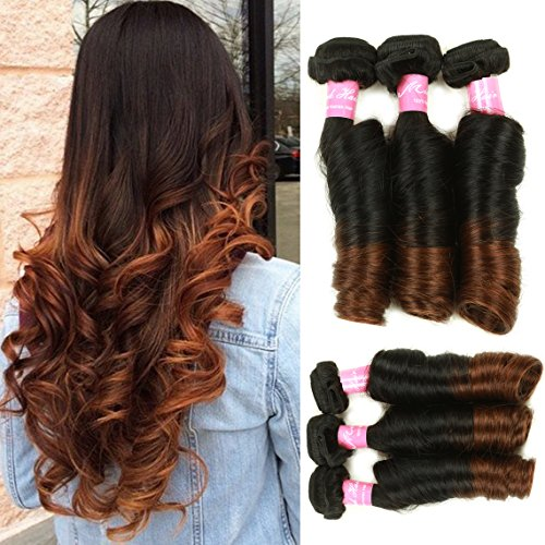 Mink Hair Brazilian Ombre Spring Curl Hair Bundles (12 14 16) Grade 8A Virgin Spring Curly Funmi Hair Extension 100g/bundle Two Tone Ombre Color 1b/4#