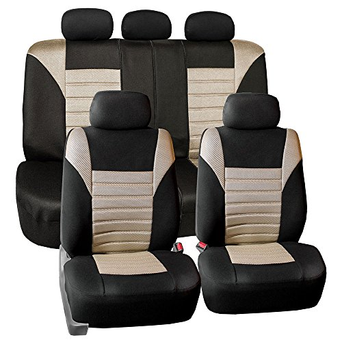 FH GROUP FH-FB068115 Premium 3D Air Mesh Seat Covers Full Set (Airbag & Split Ready), Beige - Fit Most Car, Truck, Suv, or Van (2000 Acura Integra Seat Covers)