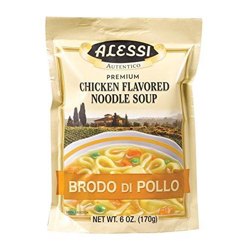(Alessi Soup Mix Brodo di Pollo Chicken Flavored Noodle Soup 6oz. (Pack of 6) )