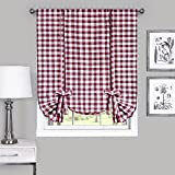 Designer Home Window Panel Curtain Checkered Kitchen Drape Tie-Up Shade Plaid Gingham Check Burgundy 42″ x 63″ Review