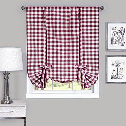 Burgundy Gingham - Designer Home Window Panel Curtain Checkered Kitchen Drape Tie-Up Shade Plaid Gingham Check Burgundy 42