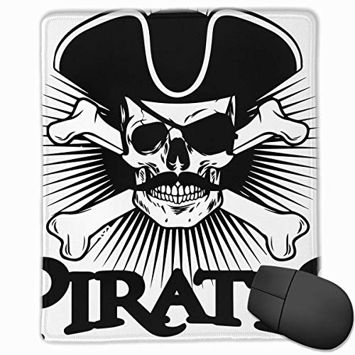 Pirate Skull with Mustache Quality Comfortable Game Base Mouse Pad with Stitched Edges Size 11.81 9.84 Inch]()