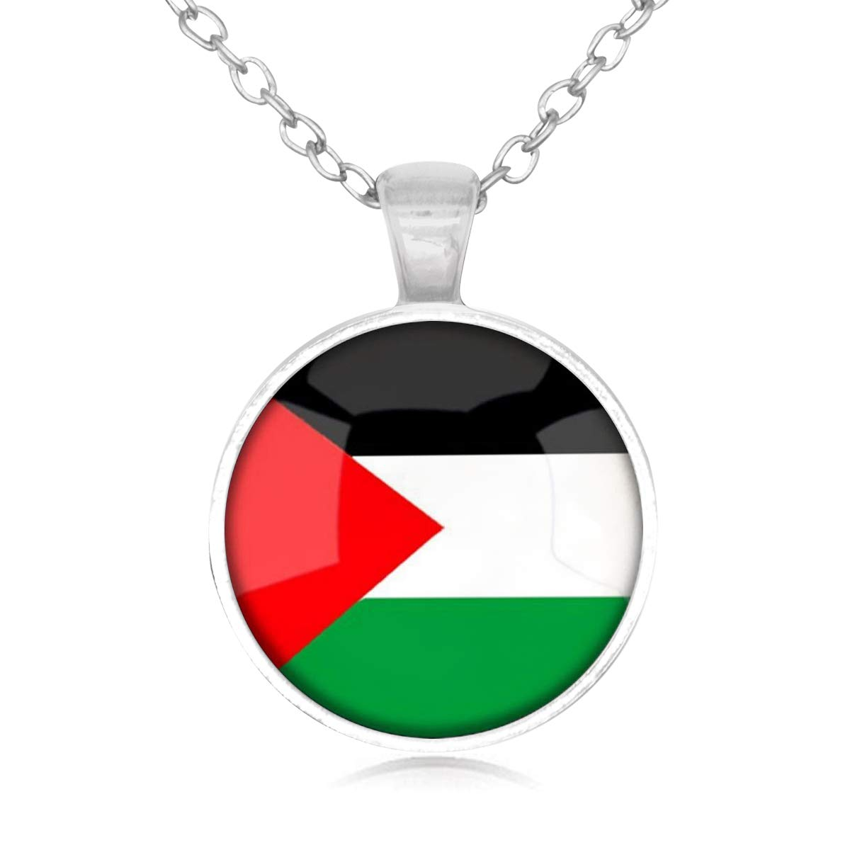 Family Decor The Hashemite Kingdom of Jordan National Flag Pendant Necklace Cabochon Glass Vintage Bronze Chain Necklace Jewelry Handmade