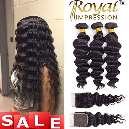 Brazilian Virgin Loose Wave 3 Bundles with Closure Free Part Natural Color 10A Unprocessed Virgin Remy Human Hair Bundles with Lace Closure (22