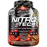 MuscleTech NitroTech Protein Powder Plus Muscle Builder, 100% Whey Protein with Whey Isolate, Mocha Cappuccino Swirl, 40 Servings (4lbs)