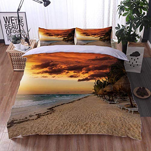 (Home Duvet Cover Set,Golden Sunset Over The Beach of The Riviera Maya in Tulum,Soft,Breathable,Hypoallergenic,Print Quilt Cover Set White Queen Pattern Bedding Collection)