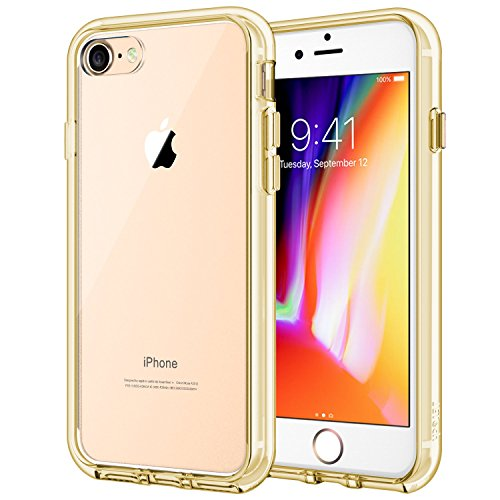 JETech Case for Apple iPhone 8 and iPhone 7, 4.7-Inch, Shock-Absorption Bumper Cover, Anti-Scratch Clear Back, Gold