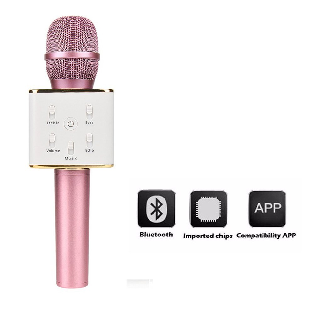 Bluetooth Microphone,Vishm Portable Wireless Karaoke Microphone Built-in Bluetooth Speaker for Music Playing,Compatible with Apple iPhone Android Smartphone Or Pc (Black USM002H