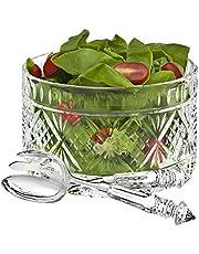 Godinger 3-Piece Dublin Salad Set, Clear/Silver
