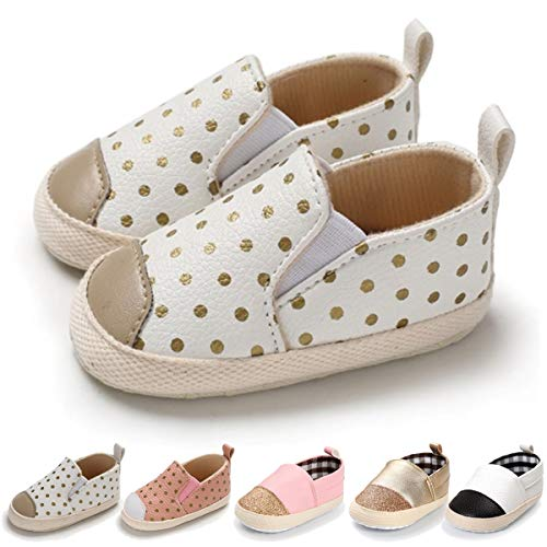 Crib Shoes Sneakers - BENHERO Infant Baby Boys Girls Canvas Shoes Slip On Soft Sole Moccasins Toddler First Walker Sneaker Newborn Crib Shoes(0-18 Months),12-18 Months M US Infant,D-White