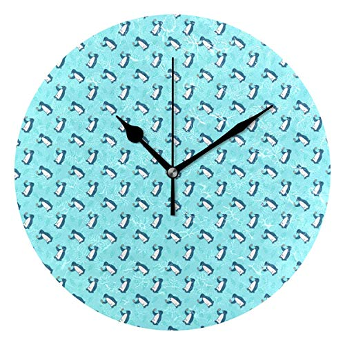 Penguin Enjoys Popsicle Round Clock Non Ticking Excellent Accurate Sweep Movement Glass Cover Modern Decorative Kitchen Living Room Bathroom Bedroom -