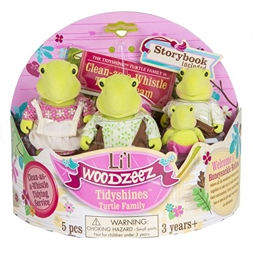 Li'l Woodzeez Tidyshines Turtle Family Set with Storybook (Lil Turtle)
