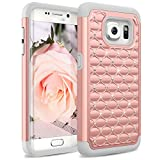 Galaxy S6 Edge Case, [Studded Rhinestone] Crystal Bling Shock Absorbing Hybrid Defender Rugged Slim Case Cover For Samsung Galaxy S6 Edge SM-G925F[Rose Gold]