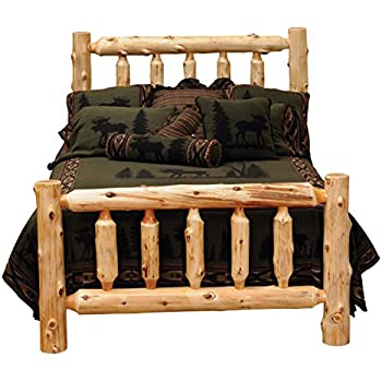 fireside lodge furniture handcraftedhand peeled and lacquered traditional cedar log bed t support frame with headboard queen