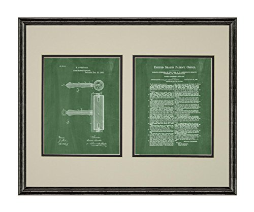 Wallpaper Hanger Roller Patent Art Green Chalkboard Print in a Black Wood Frame with a Double Mat (18