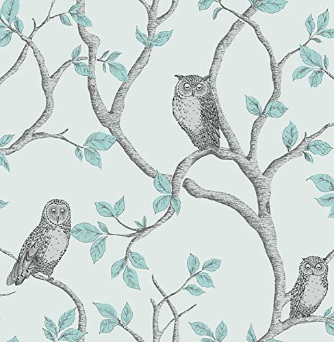 Linden Wallpaper - Fine Decor 2900-40638 Linden Owl Wallpaper, Teal