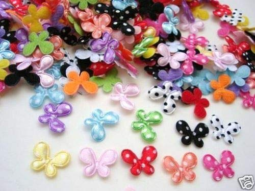 200 Mix Mini Satin Butterfly 15mm Applique/Trim/Padded/Fabric/Bow #ID-732