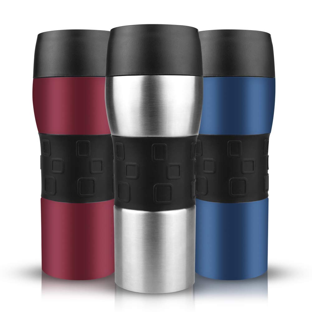 Opard 12oz Coffee Travel Mug Spill Proof Leakproof Stainless Steel Double Wall Vacuum Insulated Coffee Mug with 360°Drinkable Lid, Work for Hot & Cold Beverage (Silver)