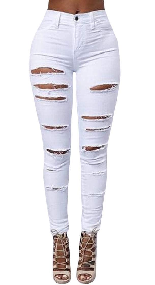 Etecredpow Womens Slim Frayed Stretch Pure Color Basic Pants Denim Jeans