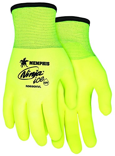 [Memphis Glove N9690HVM Ninja Ice High Visibility Nylon Liner Double Layer Gloves with HPT Coating, Lemon Yellow, Medium, 1-Pair] (Nylon Glove Liners)