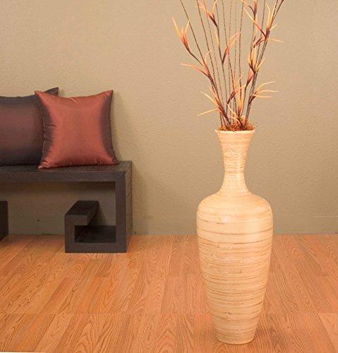 (GreenFloralCrafts 27 Inch Slender NATURAL Bamboo Floor Vase & DIY 3-tone Honey Floral Arrangement)