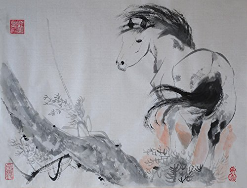 Traditional Oridental Art Hand Painted Chinese Brush Ink and Wash Watercolor Painting Drawing on Rice Paper Landscape Horse Tree Signed Decorations Decor for Office Living Room Bedroom 17.7