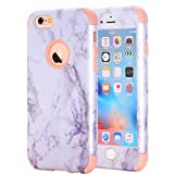 iPhone 6 Plus/6S Plus Case, NOKEA [Marble Pattern] Three Layer Hybrid Heavy Duty Shockproof Protective Bumper Cover Soft Silicone Combo Hard PC Case for iPhone 6 Plus/6S Plus (Rose Gold)