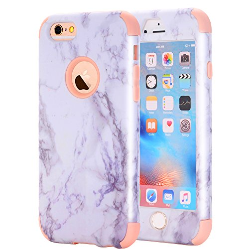 iPhone 6/6S Case, Asstar 3 In 1 Marble Creative Design Soft Silicone Hard PC Shockproof Anti-Scratch Glossy Protective Cover Case for Apple iPhone 6/6s 4.7 inch (Rose Gold)