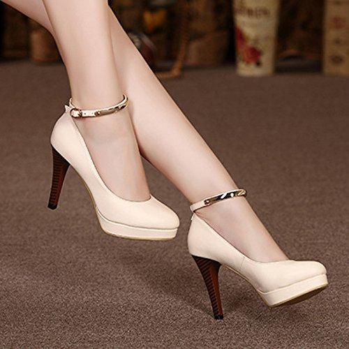 Talons Impermables Beige Course Hauts Avec Chaussures Taiwan De Bien Pour Femmes 37 Boucle Noires Ressort Les Fonctionnent ptax6p