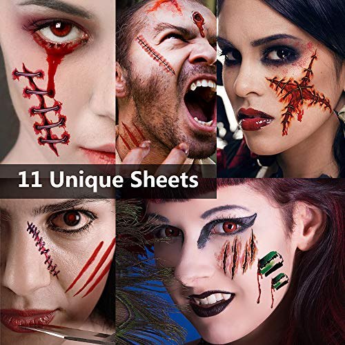 Scar Tattoo Halloween, Zombie Tattoos, Zombie Makeup Kit, Halloween Makeup Kit, Fake Blood Fake Scar Cuts, Vampire Bite Tattoo, Healthy Makeup for Kids, 6 pack(Large)+5 pack(Small),60 pics Scars -