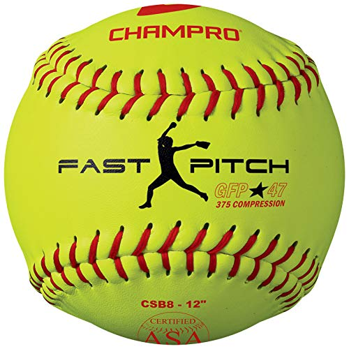 Champro Game ASA Fastpitch .47 COR, 375 Compression, Poly Synthetic Cover, Red Stiches (Optic Yellow, 12-Inch), Pack of 12