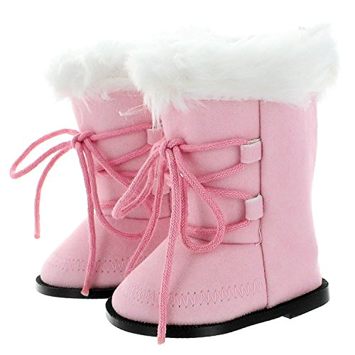 Doll Shoes - Snow Light Pink Boots Shoes Fits American Girl Dolls, My Life Doll and Other 18 inches Dolls