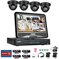 SANNCE Video Monitoring System 4CH 720P DVR Recorder with 1080N 10.1 LCD Combo and (4) Surveillance Cameras Support P2P Technology, QR Code Scan Phone Remote Access Viewing -No HDD