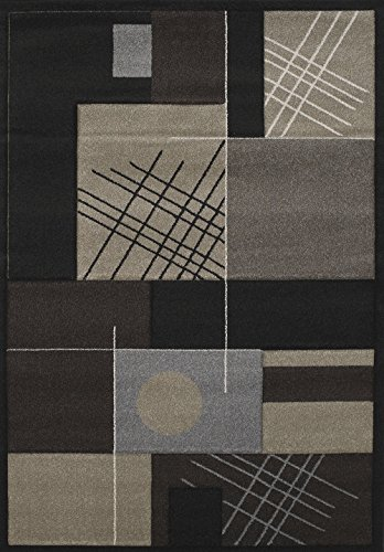 United Weavers Wood Rug - United Weavers of America Townshend Collection Touche Modern Area Rug, 7-Feet 10-Inch by 11-Feet 2-Inch, Black