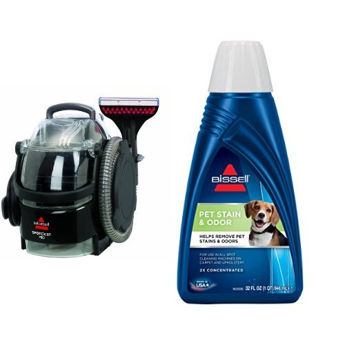Bissell 3624 SpotClean Professional Portable Carpet Cleaner - Corded and BISSELL 2X Pet Stain & Odor Portable Machine Formula, 32 ounces, 74R7 Bundle