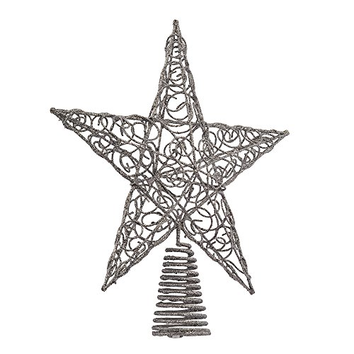 Kurt Adler 10-Inch Silver Star (Wire Star Tree Topper)