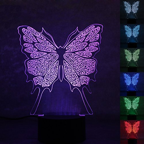 Saim Amazing Animal 3D 7 Colors Optical Illusion Visual Gradients LED USB Powered Touch Switch Night Light - Decorative 3D Colorful Touch Table Desk Lamps for Christmas Gift Home Decor (Butterfly) (Christmas Butterfly Gifts)