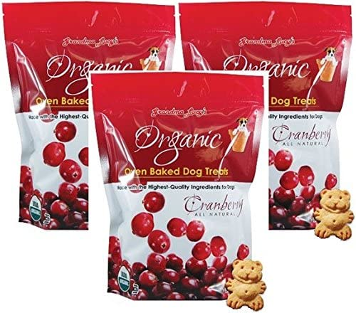 3 Pack Grandma Lucy s Organic Oven Baked Dog Treats, Cranberry, 14 Ounces each