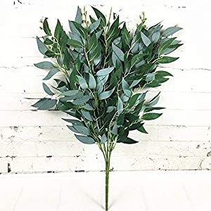 eu-knc Artificial Willow Bouquet Fake Leaves for Home Christmas Wedding Decoration Faux Foliage Plants Wreath 79