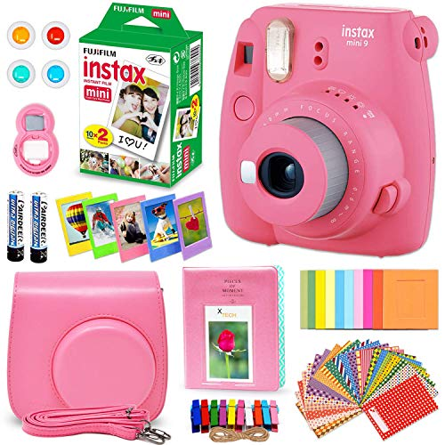 FujiFilm Instax Mini 9 Instant Camera Flamingo Pink + Fuji INSTAX Film (20 Sheets) + Custom Camera Case + Instax Album + 60 Colorful Stickers + 20 Emoji Stickers + Fun Frames + Colored Filters + More