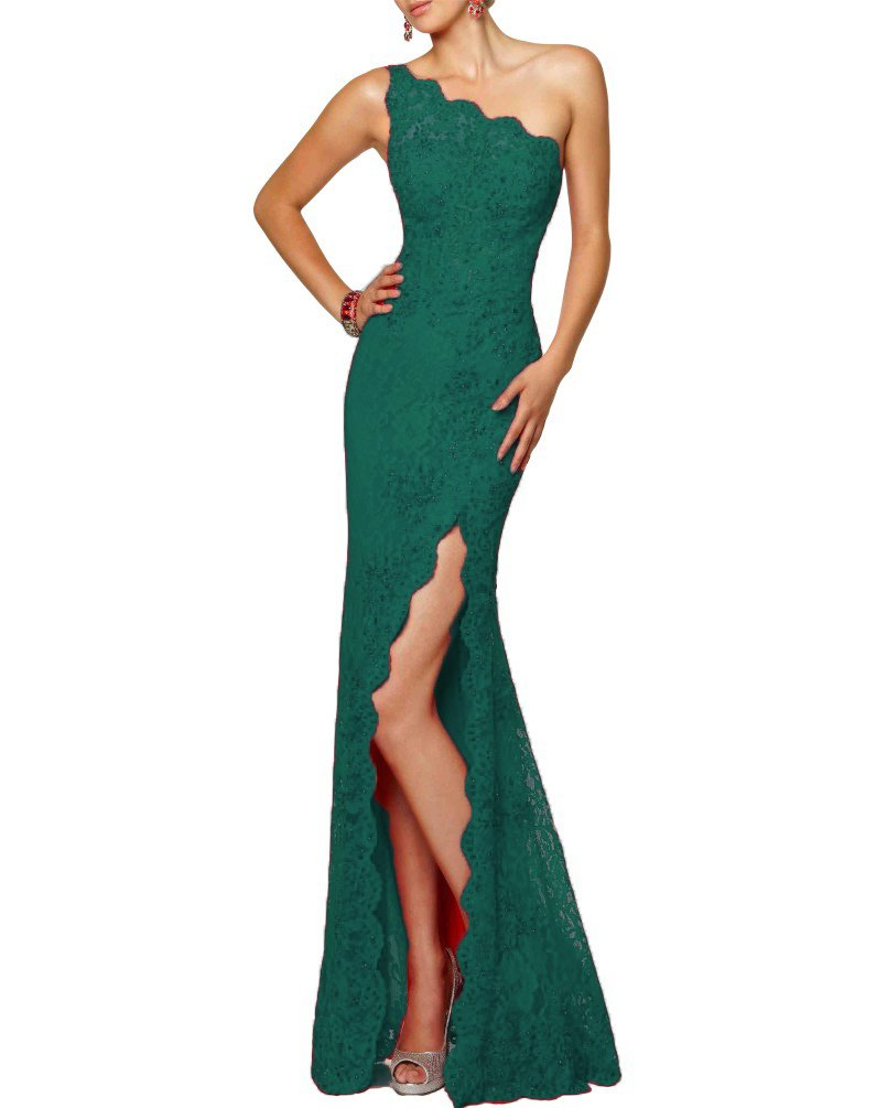Beilite Women's One Shoulder Beads Lace Long Mermaid Evening Dress Dark Green 6