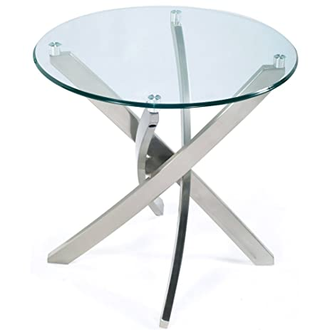 Amazon.com: Magnussen Zila End Table in Brushed Nickel: Kitchen & Dining