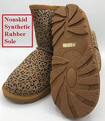 FULI Girls Winter Snow Boots Slip-on with Leopard Print