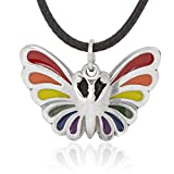 Dan's Jewelers Gay Pride Rainbow Butterfly Pendant Necklace + Silver Plated Clasp, Fine Pewter Jewelry